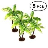 Tinksky - Palme da cocco in miniatura per paesaggio fai da te, casa delle bambole, decorazione in resina - 5 pezzi