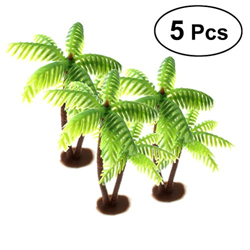 LUOEM 5 Stücke Mini Kokosnussbaum Micro Landschaft DIY Ornamente Aquarium Deko