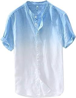 LISTHA Button T Shirts Men Baggy Cotton Linen Short Sleeve Retro Tops Summer Tee