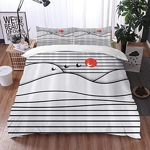 Lyyeaz Juego de ropa de cama, funda de edredón de microfibra, 240 x 260 cm, con 2 fundas de almohada de 50 x 80 cm
