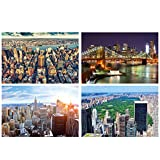 GREAT ART® Juego de 4 Motivos de Carteles XXL - Vista de Nueva York - Manhattan Sightseeing Brooklyn Bridge Skyline Central Park diseño Interiores 140 x 100 cm