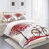 XKALXO Juego de Funda nórdica de Ropa de Cama Bicicleta de árbol de Amor Rojo Funda de edredón de Cama Impresa 3D Funda nórdica con Cierre de Cremallera Microfibra 260x220cm y 2 Funda de Almohada