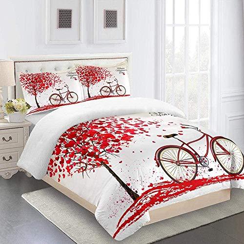 ZTMLJT Funda de Edredón para Cama 135/150 cm Bicicleta de árbol de Amor Rojo Juego de Funda de Edredón 240x220 cm Microfibra Tamaño Individual Doble King con 2 Fundas de Almohada