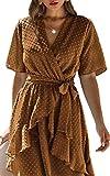 Spec4Y Damen Kleider V-Ausschnitt Vintage Langarm Rüschen Punkte Sommerkleid Knielang Swing Strandkleid Sommer 3023 Hellbraun Medium