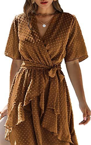 Spec4Y Damen Kleider V-Ausschnitt Vintage Langarm Rüschen Punkte Sommerkleid Knielang Swing Strandkleid Sommer 3023 Hellbraun Small