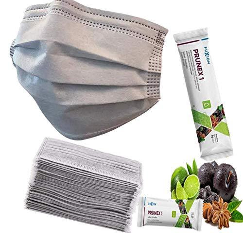 1 Sachet FuXion Prunex 1 for Gentle Colon Detox Cleanse,Plus 25 Pcs 3-Ply Cover Gray Use US9574136B2 Copper Carbon Composite Materials for Fresh Healthy Breath