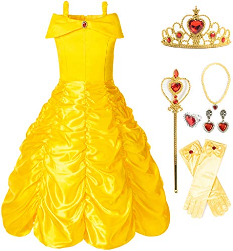 Funna Princess Costume Layered Dress Off Shoulder for Girls Dress Up with Accessories Yellow, 6 Years