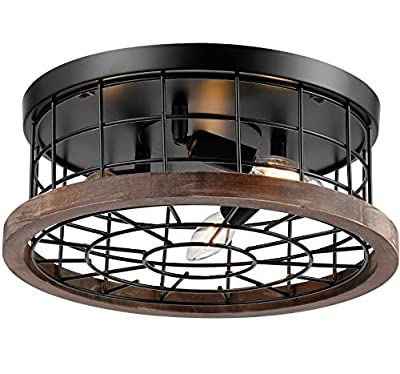 """16"""" Drum Wood Rustic Ceiling Light Fixture, Farmhouse Flush Mount Close to Ceiling Lighting Industrial Black Metal Cage Entry Kitchen Light 3 Light"""