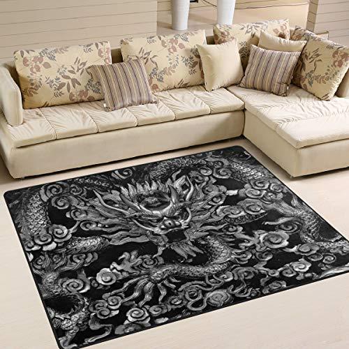Jereee Teppich, traditioneller chinesischer Drachen-Teppich, 150 x 122 cm, Polyester, Rutschfest, Mehrfarbig, rechteckig, für Zuhause, Schlafzimmer, Wohnzimmer, Esszimmer, Polyester, Multi, 7' x 5'