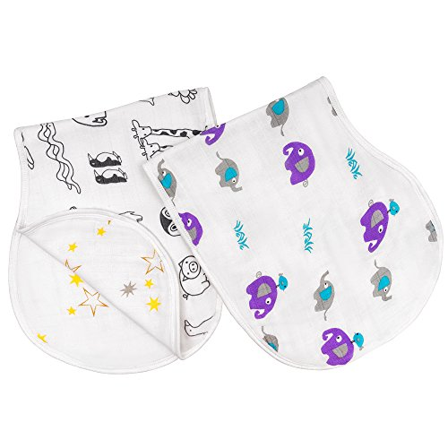 gagagubaby Muslin Baby Burp Cloths for Boys and Girls - Baby Bibs - 2 Pack of Soft, Absorbent Burping Cloths made of a special blend of Bamboo and Cotton – Unisex Burpy Bib