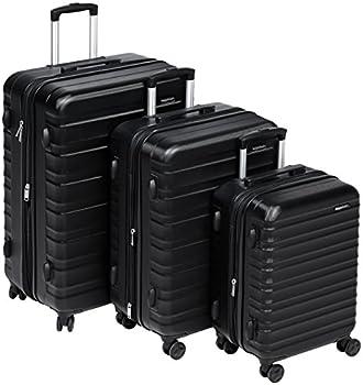 AmazonBasics Valise de voyage à roulettes pivotantes,  Noir, Lot de 3valises (55 cm, 68 cm, 78 cm)