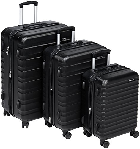 Amazon Basics - Set di trolley rigidi con rotelle girevoli, Set da 3 pezzi (55 cm, 68 cm, 78 cm), Nero