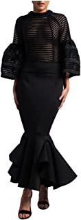 Bell Sleeve Fishtail Women's Party Cocktail Evening Bodycon Dress Mermaid Maxi Dress