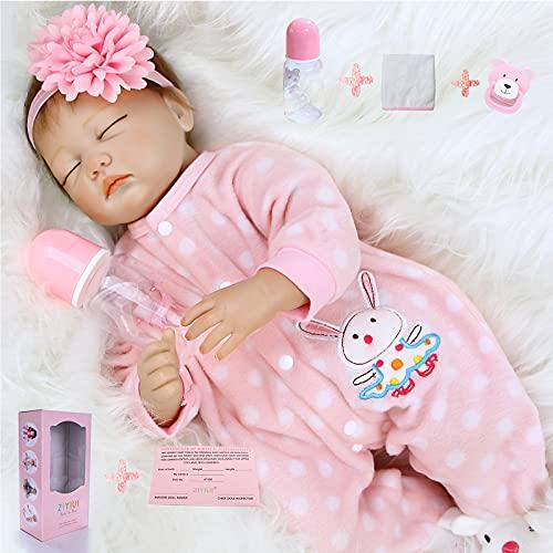 ZIYIUI Muñecas Reborn 55cm Realista Suave de Silicona Vinilo Bebes Recién Nacido Bebé Hecho a Mano de la Vida Real Juguetes de muñeca Reborn Niña 22 Pulgadas