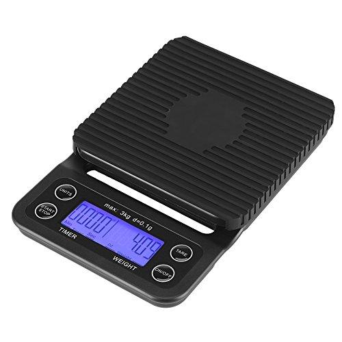 Fdit 3kg / 0.1g Báscula Digital de Comida para Cocina Balanza Electrónica Digital de ABS Multifunción Escala de Cocción Digital con Pantalla LCD Retroiluminada Negro (Baterías No Incluidas) (Azul)