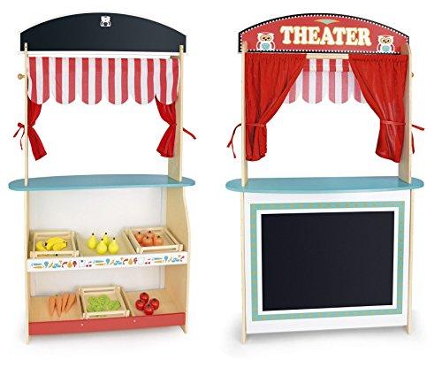 Leomark Juguete de Madera para Niños, Teatro y Mercado, 2 en 1, con Cuatro Marionetas y Gran Conjunto de Productos Alimenticios, con con Caja Registradora y Escáner de Código