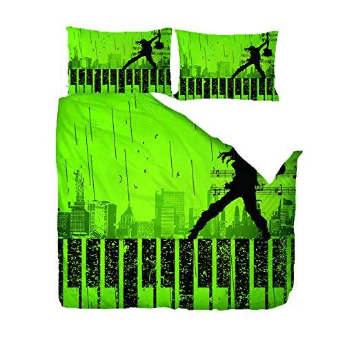 3D Gedrukt Patroon Quilt Cover Kussensloop Man Spelend Gitaar Op De Piano slaapkamer driedelig beddengoed (dekbedovertrek + 2 kussenslopen) Voorkom vocht hypoallergeen Enkel Dubbel