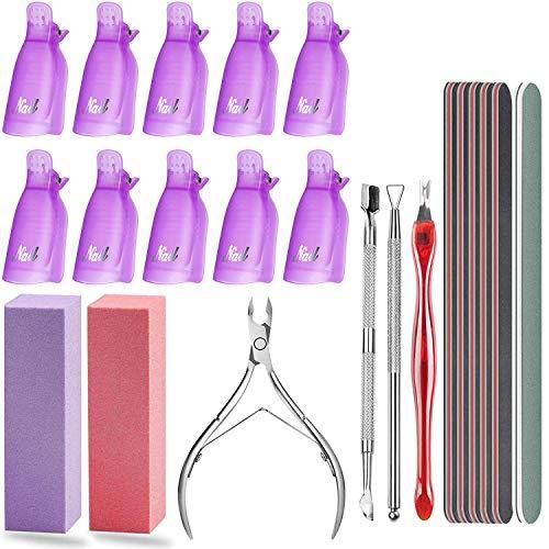 Nagellackentferner Werkzeuge, Nail Art Maniküre Werkzeuge Set mit 10 Stück Kunststoff Nagelclips Kappen, Nagelhautschieber, Cutter Hautzange, Nagelfeile und Nagelpufferblock