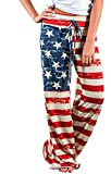 Elsofer 4th of July Pants for Women July 4th Womens Clothing Ladies USA American Flag Print Patriotic Casual Pants (Tag M (US 6), Red)
