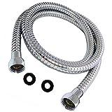 Kibath 101371 Flexo de acero inoxidable de conexión para ducha o bañera, universal, con acabado cromo brillo, medida 60 cm