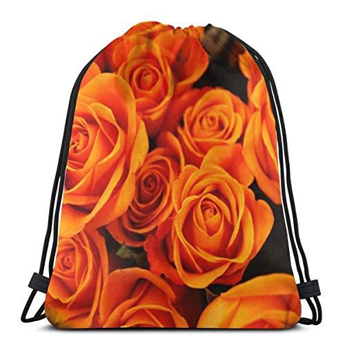 LREFON Bolsas con cordón para gimnasio, mochila, mochila de color naranja y rosa, bolso para almacenamiento deportivo, organizador de zapatos, hombro escolar, compras para adultos