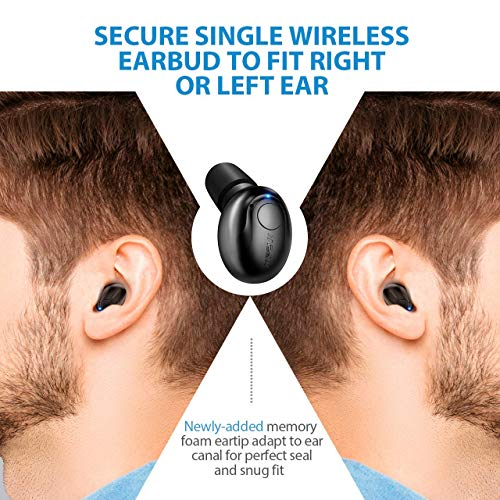 Mpow EM1 Bluetooth Earpiece, V4.1 Wireless Headphones, 6-Hr Playing Time Mini Bluetooth Earbud with Microphone, Invisible Car Bluetooth Headset for Cell Phone (One Pcs, Two Charger), Black