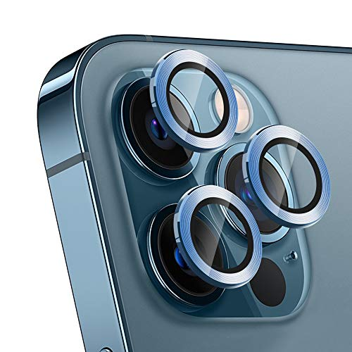Camera Lens Protector For iPhone 12 Pro, Scratch-Proof Phone Screen Camera Cover Protection For Iphone 12 Pro 6.1 Inch Full Cover Tempered Cam Protector [3 Pack] (Blue)