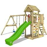 WICKEY Spielturm Klettergerüst MultiFlyer HD mit Schaukel & apfelgrüner Rutsche, Kletterturm mit...