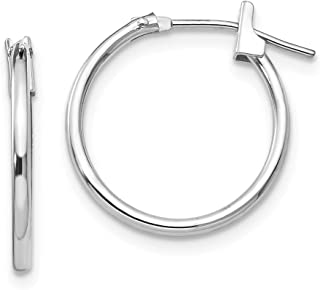 Mia Diamonds 14k White Gold Satin and Diamond-Cut Square Tube Hoop Earrings