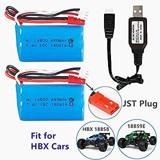 7.4V 650mAh バッテリー 2枚 + USB充電器 HBX RC Car 18859E 18858 18856 Syma F1 RCドローン に適応