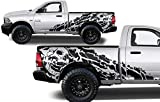 Factory Crafts Nightmare Side Graphics Kit 3M Vinyl Decal Wrap Compatible with Dodge Ram 6.5 Bed 2009-2018 - Matte Black
