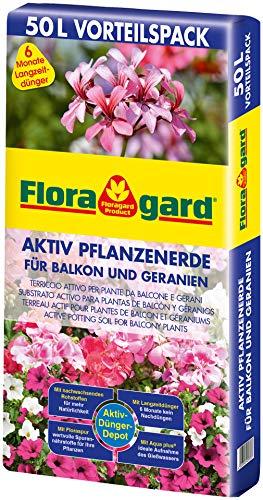 Floragard Aktiv Pflanzenerde für Balkon und Geranien 50 Liter - mit 6 Monate Langzeitdünger