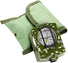 Military Metal Compass Survival - Lensatic Sighting Camo Compass for Hiking Waterproof Shakeproof High Accuracy Impact Resistant with Map Measure Distance Calculator Bubble Level Pouch for Camping