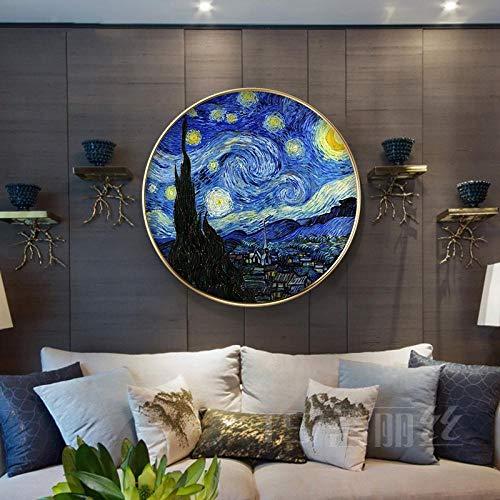Coral Vaughan Punto de Cruz Diamante,5d Diamond Pintura de Diamantes,Kit Bordado a Mano,Pintura por numeros,Imagen de la Noche Estrellada de Van Gogh-59cm de diámetro