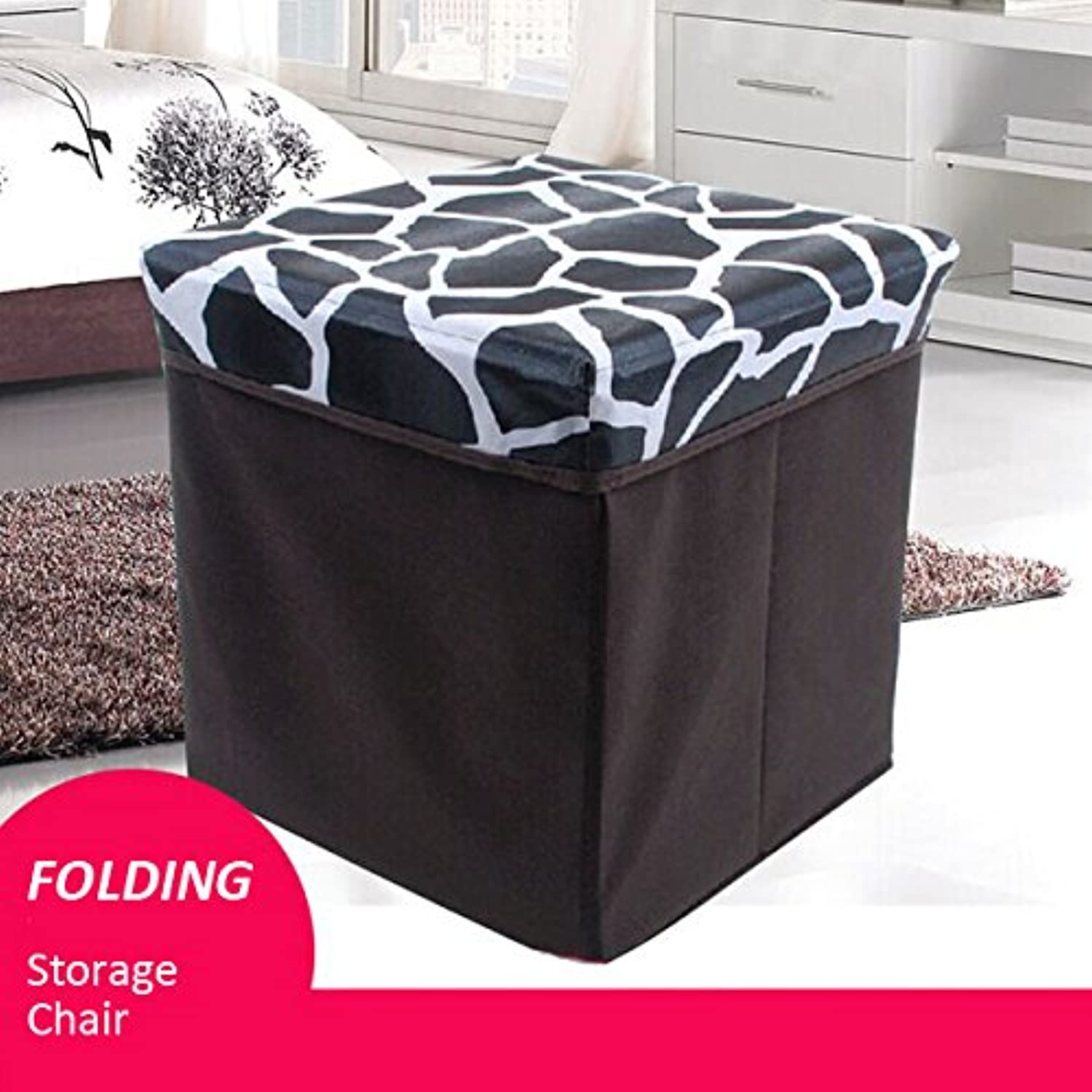 GD Multifunctional Folding Storage Chair Box Toy shoes Leather Storage Chair Pattern Black & White Check Pattern Stone