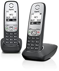 Gigaset A415 Duo 2 Cordless phones without answering machine (DECT phone with hands-free function, graphic display and easy operation) black