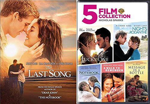 Last and Romance Movies Nicholas Sparks The Notebook / A walk to Remember / Nights in Rodanthe / Message in a Bottle / Lucky One & The Last Song DVD Set Love Bundle Collection 6 pack Nicholas Sparks