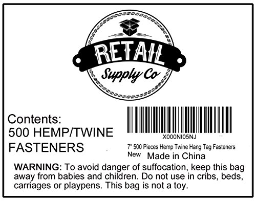 Hang Tag Fasteners - Hemp Twine String with Plastic Lock - 500 Pieces - Hang Tag String - Price Tag Fasteners - Craft Twine - Snap Lock Tag Fastener Photo #6
