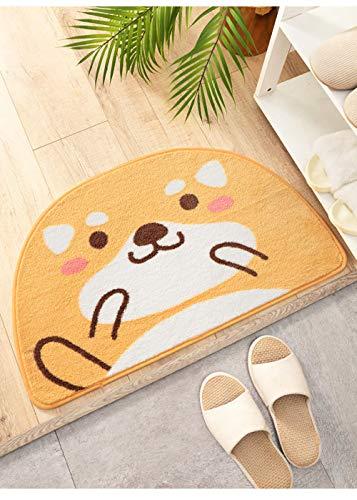 Antislip tapijt voor de douche, absorberend, antislip, keuken, badmat, katten, cartoon, halfrond, 45 x 75 cm, geel