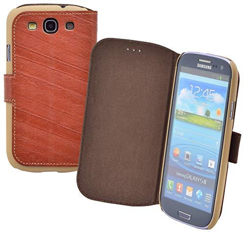 Suncase® Book-Style Ledertasche für / Samsung Galaxy S3 / *ECHT LEDER* Tasche Handytasche Hülle Hülle wash-braun