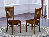 East West Furniture Vancouver dining room chairs - Wooden Seat and Espresso Hardwood Figure dining chair set of 2