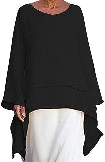 comprar comparacion 2019 Mujer de Gran tamaño de Color sólido Hilado de cáñamo Cuello Redondo Camisa de Dobladillo Irregular Camiseta de Manga...