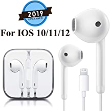 Lighting Earbuds Headphone Earphones with Microphone and Volume Control, Compatible with iPhone Xs Max/XR/X/8/8 Plus/7/7 Plus Plug and Play (White)
