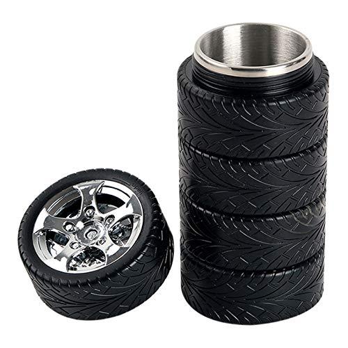 11oz coche forma de neumático de acero inoxidable tubo interior tazas termo para café té viaje taza aislamiento botella para los amantes del coche