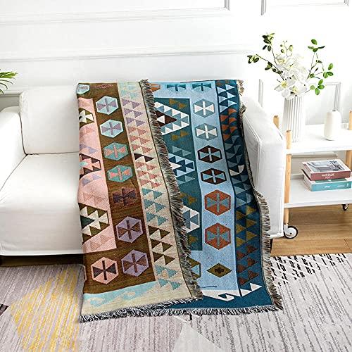 haoyunlai Manta para sillón o cama, manta de sofá de granja, manta de sofá de línea de abravación de la toalla de aire acondicionado, cubierta de manta de 130 cm x 160 cm