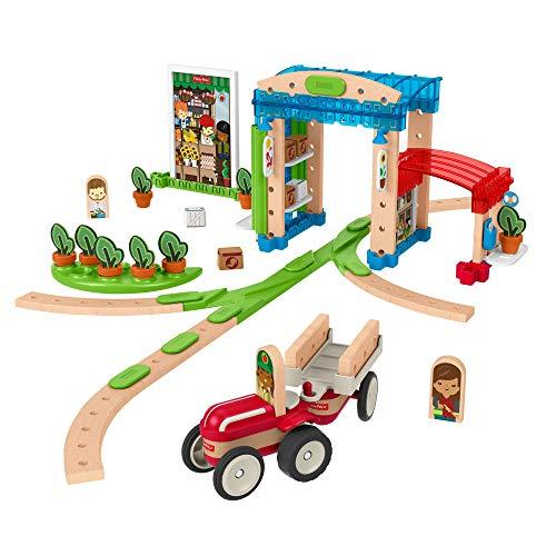 Fisher-Price FXG14 - Wunder Werker Holzspielzeug Kleine Stadt aus FSC zertifiziertem Holz mit Schienen, Figuren, Fahrzeuge und Zubehör (75 Teile), Kleinkind Spielzeug ab 3 Jahren