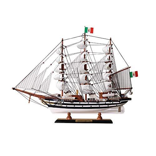KOONNG Barco Pirata mediterráneo Adornos Modelo Adornos de Barco de Madera Maciza Hechos a Mano Accesorios de decoración Barco de Vela Suave