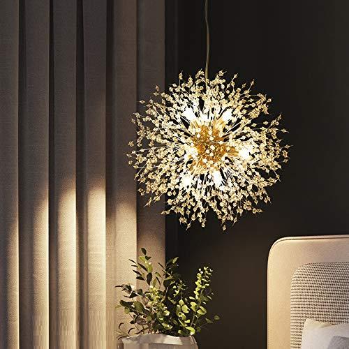 Dellemade Sputnik Kronleuchter 8-Licht Golden Luxuriöse Pendelleuchte für Schlafzimmer, Wohnzimmer, Esszimmer
