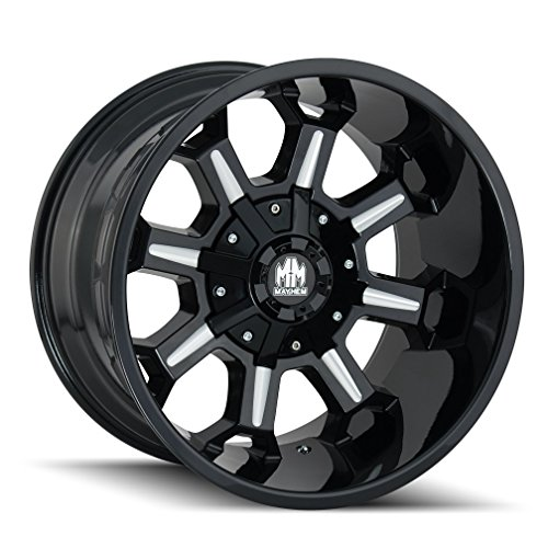 Mayhem COMBAT Gloss Black/Milled Spokes Wheel with Painted Finish (20 x 9. inches /5 x 150 mm, 0 mm Offset)