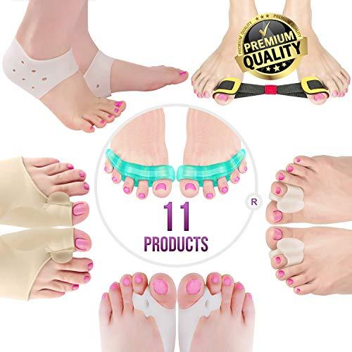 Orthopedic Bunion Corrector & Bunion Relief Elastic Sleeve Protectors-Gel Separators Spacer Spreader-Hammertoe Straightener Turf Big Toe Brace Splint-Ball Stretcher Heel Cushion Inserts For Women M-L